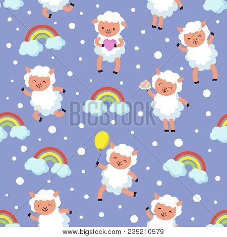 White Lamb, Small Sheep Baby. Sweet Dream Vector Seamless Pattern. Sheep Character Background, Dream