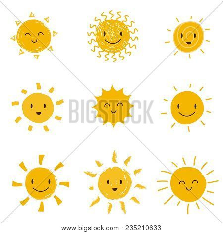 Cute Happy Sun With Smiley Face. Summer Sunshine Vector Set Isolated. Face Smile Sun, Cartoon Yellow