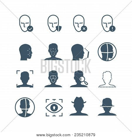 Face Recognition Safety Software Line Icons. Faces And Iris Biometrics Detection, Facial Laser Scann