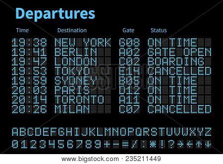 Departures And Arrivals Airport Digital Board Vector Template. Airline Scoreboard With Led Letters A
