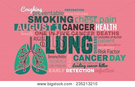 World Lung Cancer Day. Beautiful Vector Illustration With Lungs Icon And Cloud Of Tags. Editable Ima