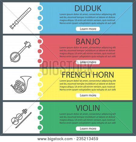 Musical Instruments Web Banner Templates Set. Duduk, Banjo, French Horn, Violin. Website Color Menu