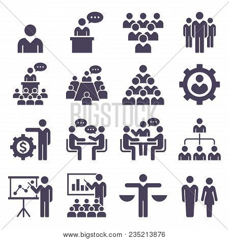 Group Of Business People Icons Set. Vector Illustrations.