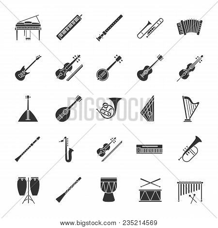 Musical Instruments Glyph Icons Set. Orchestra Equipment. Stringed, Wind, Percussion Instruments. Si