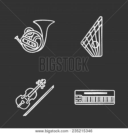 Musical Instruments Chalk Icons Set. French Horn, Gusli, Violin, Mellotron. Isolated Vector Chalkboa