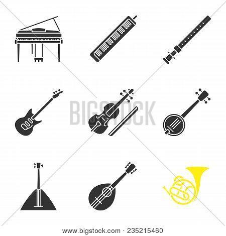 Musical Instruments Glyph Icons Set. Piano, Melodica, Duduk, Electric Guitar, Viola, Banjo, Balalaik