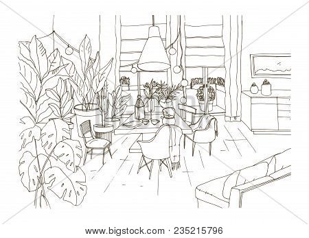 Contour Drawing Of Cozy Dining Or Living Room Furnished In Trendy Scandic Hygge Style With Table, Ch