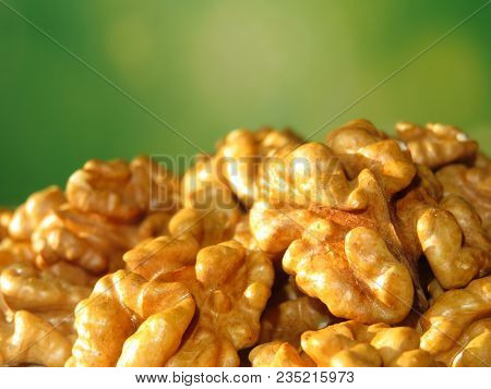 Walnut Kernels On Green Natural Background With Free Copy Space
