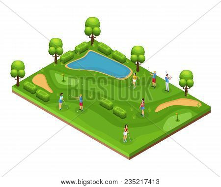 Isometric Golf Course Concept With Golfers Playing On Field Flags Holes Green Lawn Trees And Pond Ve