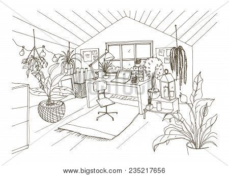 Monochrome Drawing Of Cozy Cabinet, Mansard Or Attic Room Furnished In Modern Scandinavian Hygge Sty