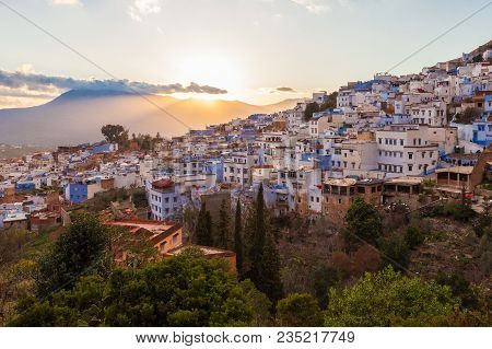 Chefchaouen Aerial Panoramic View At Night. Chefchaouen Is A City In Northwest Morocco. Chefchaouen
