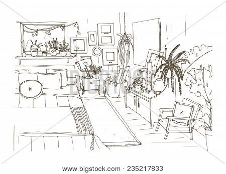 Monochrome Sketch Of Comfortable Bedroom Furnished In Scandinavian Style. Room Full Of Cozy Furnitur