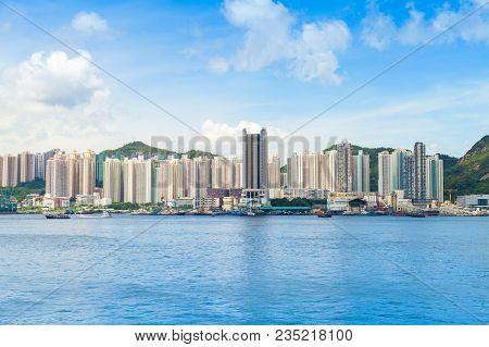Hong Kong skyline in summer day. Yau Tong district of Hong-Kong island poster