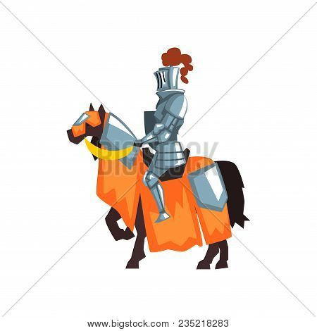 Cartoon Illustration Of Medieval Knight On Horseback. Guardian Of The Kingdom. Royal Warrior Wearing