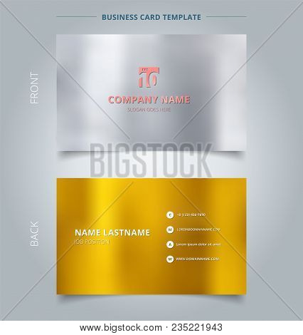 Creative Business Card And Name Card Template, Silver And Gold Color Background. Abstract Concept An