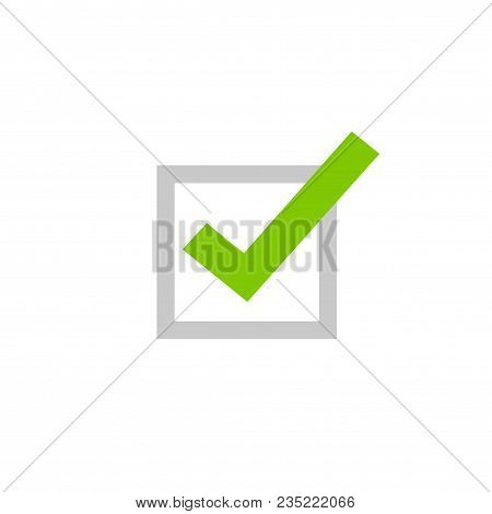 Tick Icon Vector Symbol, Flat Cartoon Green Checkmark Isolated On White Background, Checked Or Appro