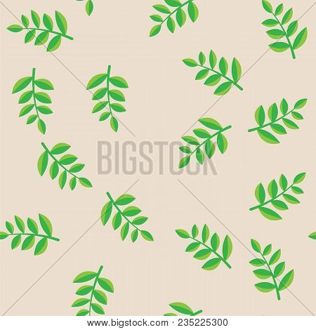 Plant Branches With Green Leaves On Beige Pattern Background. Green Plant Branches With Foliage Seam