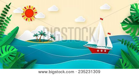 Sailboat In The Sea Sun Clouds Tropical Island With Beach And Coconut Palms Tropical Leaves Vector I
