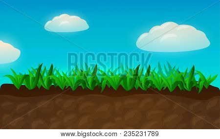 Cartoon Green Fresh Grass On The Ground With Sky And Beautiful Clouds