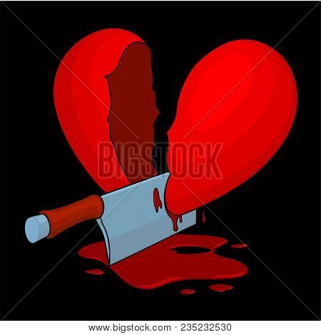 Severed Cartoon Bloody Heart With A Cleaver On Black Background