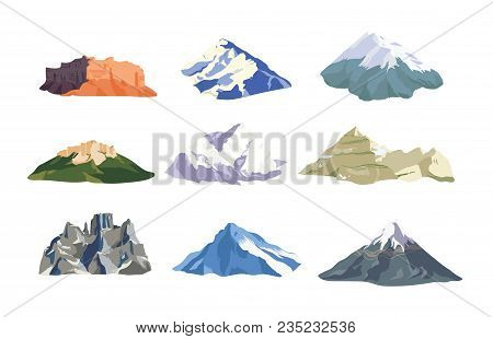 Collection Of Mountain Peaks And Ridges Isolated On White Background. Bundle Of Various Rock Cliffs.