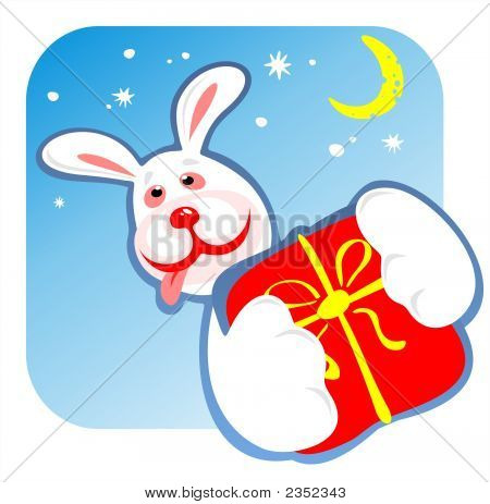 The cheerful rabbit with a gift in paws on a background of the star sky. poster