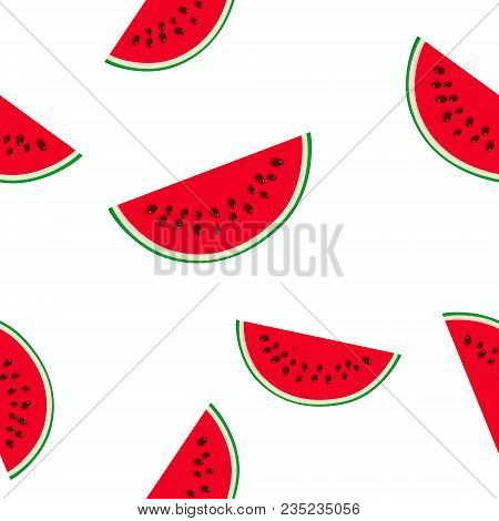 Seamless Pattern With Slice Of Watermelon, Juicy Fresh Slice Of Half Watermelon, Summer Time, Vector