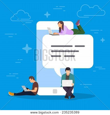 Chat Talk Concept Illustration. Young People Using Mobile Smartphone For Sending Messages To Each Ot