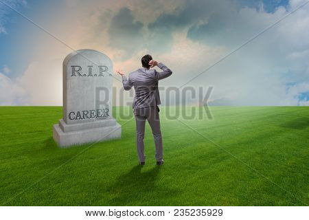 Businessman employee mourning his unsuccessul career