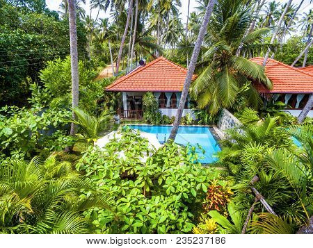 Tangalle, Sri Lanka - November 1, 2017: Villas With Pools In Tropical Hotel. Beautiful Place To Rela