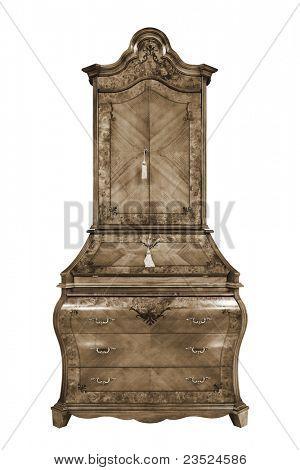 beautiful wooden bureau on a white background