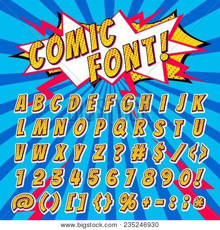 Comic Font Vector Cartoon Alphabet Letters In Pop Art Style And Alphabetic Text Icons For Typography