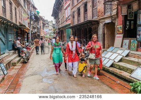 Lalitpur, Nepal - September 21, 2016: People Walking In The Streets Of Lalitpur Metropolitan City, N