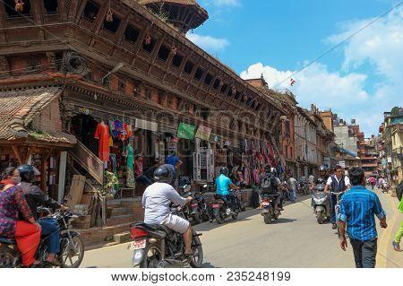 Kathmandu, Nepal - September 21, 2016: Nepali People Riding Motorcycle In Kathmandu Streets, Nepal