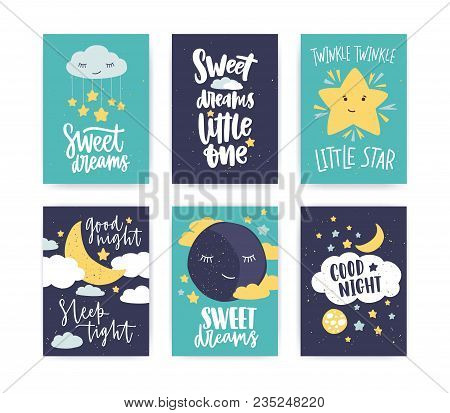 Bundle Of Colorful Poster Or Flyer Templates With Good Night And Sweet Dreams Wishes With Elegant Le