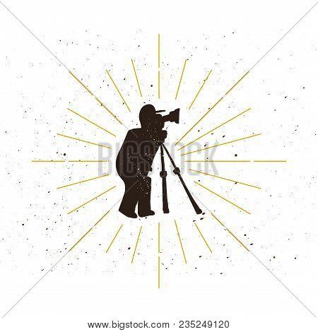 Retro Photographer Silhouette Logo. Photomaster Sign And Vintage Logotype. Photo Or Video Recording