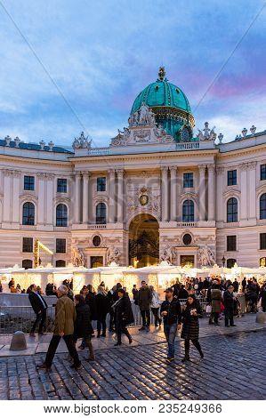 Vienna, Austria - December 31, 2017: K.u.k. (imperial And Royal) Christmas Market On Michaelerplatz