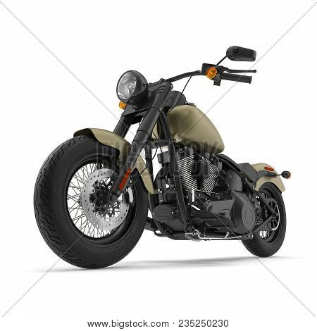 Classic Motorbike Isolated On White Background. 3d Illustration