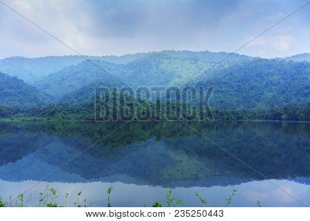Beautiful Sai Thong Reservoir With Reflection , Nakhon Nayok , Thailand