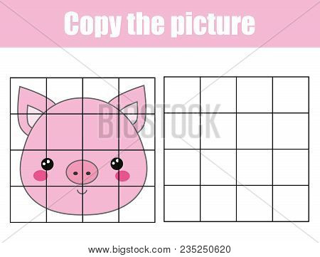 Grid Copy Drawing Activity. Educational Children Game. Copy The Picture. Printable Sheet For Kids An