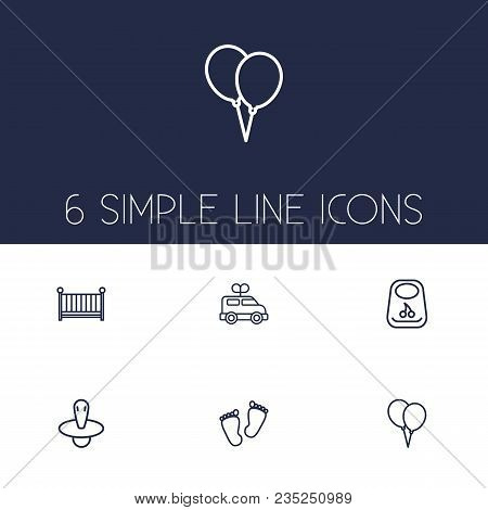 Set Of 6 Kid Icons Line Style Set. Collection Of Breastplate, Trace, Cot And Other Elements.