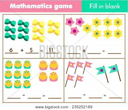 Counting Educational Children Game. Mathematics Worksheet For Kids. How Many Objects Task. Complete