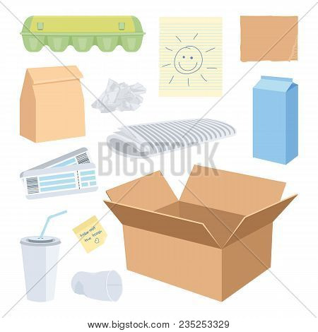 Cardboard Waste Objects Isolated On White. Vector Illustration Of A Box, Cup, Carton, Lunch Bag, Cru