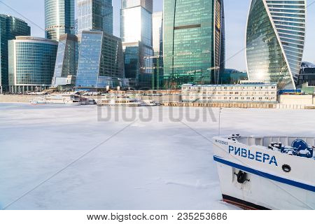 January 25, 2018. Russia. Moscow. Morning. Moscow City Business Center On The Background Of The Ice-