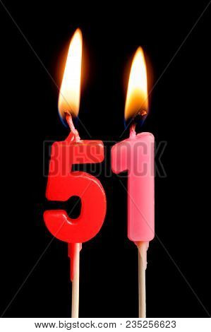 Burning Candles In The Form Of 51 Fifty One (numbers, Dates) For Cake Isolated On Black Background.