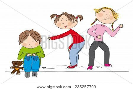 Children (two Girls) Bullying Poor Boy, Sneering, Offending Him. The Poor Kid Is Sitting On The Grou