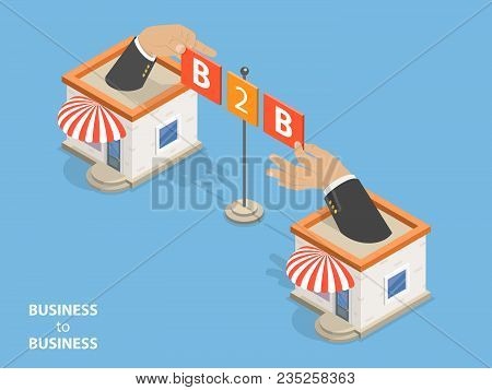 B2b Flat Isometric Vector. Concept Of Situation Where One Business Makes Commercial Transaction With