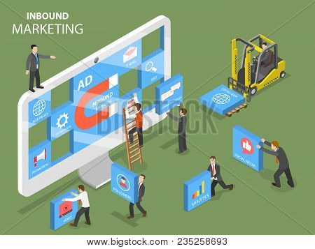 Inbound Marketing Flat Isometric Vector Concept. People Are Trying To Design A Composition On The Pc