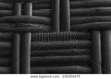 Monochrome Wooden Wicker Texture Of Basketwork For Background Use