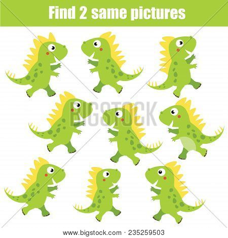 Find The Same Pictures Children Educational Game. Find Equal Pairs Of Dino Kids Activity. Animals Th